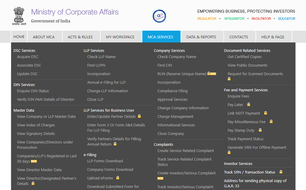Registering a Company - Ministry of Corporate Affairs