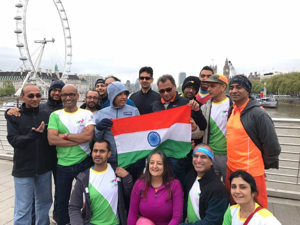 Gauri Jayaram with other runners from India at the London marathon