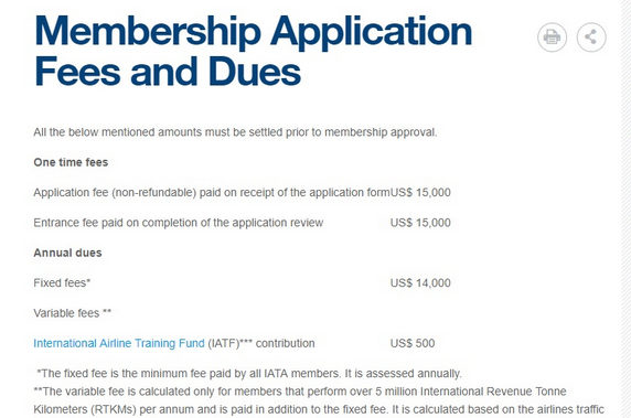 IATA membership fee