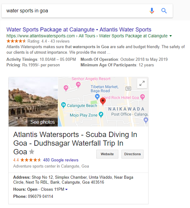 Google search for watersports in Goa-Atlantis Watersports