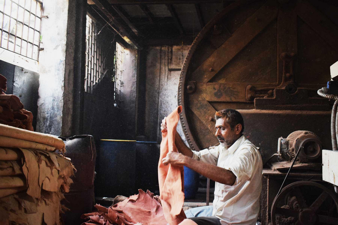Leather making in progress at a Dharavi tannery